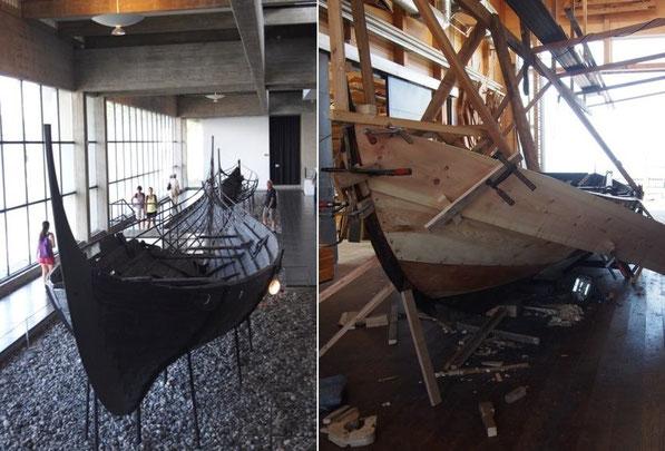 (左):復元されたロングシップ、(右)実際に船を作っている作業場、工具なども展示してある