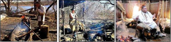 先住民ワンパノアーグ族のカヌー造り、料理作り、酋長然の話(Wampanoag People's daily life)