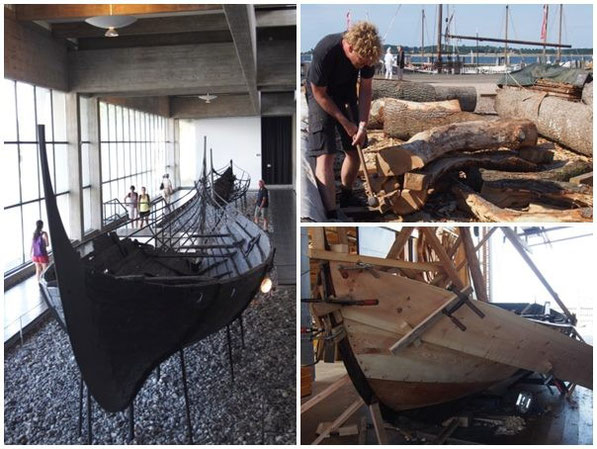 (左)復元されたロングシップ、(右上)クサビで木材を割る実演、当時は鋸がなかったという。ここでは実際に船を作っている。(右下)実際に船を作っている作業場