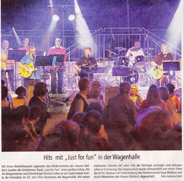 Das Große Jubiläumskonzert in der Wagenhalle Griesheim zugunsten des Fördervereins Haus Waldeck mit dem Sportverein St.Stephan Griesheim