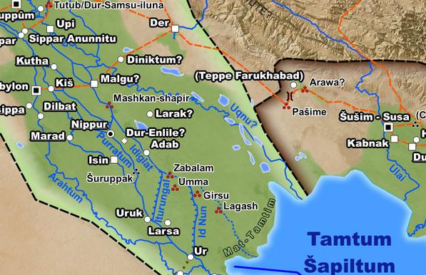 In der Übergangsphase zwsichen der mittleren und späten Bronzezeit wurden viele der alten Städte Sumers aufgegeben, während sich im Laufe des 2. Jahrtausends der Hauptarm des Tigris nach Osten verlagerte.