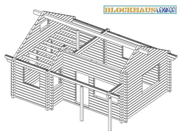 """""""Blockbohlenskelett"""" - Reiner Blockbalkenrahmen ohne Dachstuhl, Türen, Fenster ..."""