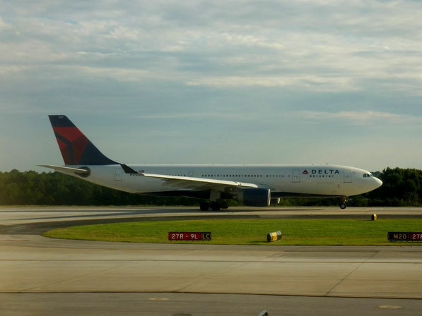 In so einer Boeing 767-300 sitzen wir auch, diese hier geht nach München.