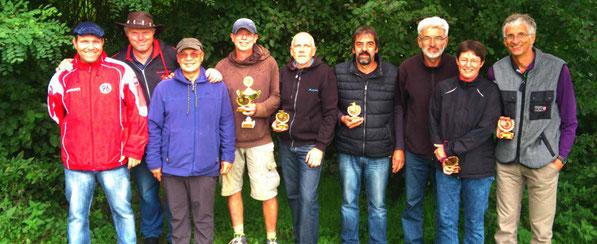 v.l. Platz 2 Ingo, Jörg, Klaus. Platz 1 Torsten, Helmut, Manfred. Platz 3 Drago, Wiebke, Gerd