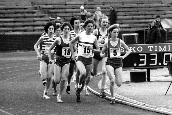 Marsela Robertson (15) 1985 SWAAA 1500m champion with Elspeth Turner (18), Gail Macdonald (9) and Susan Crawford (5)