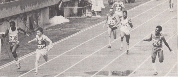 Drew McMaster (340) holds off Floyd Brown (Jamaica) (238) and Trinidad's Ephraim Servette (396) to win Commonwealth 4x100 Gold