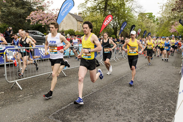 Central AC's Michael Wright in Stirling in May 2019 on his way to Scottish Marathon Champs gold (photo by Bobby Gavin)