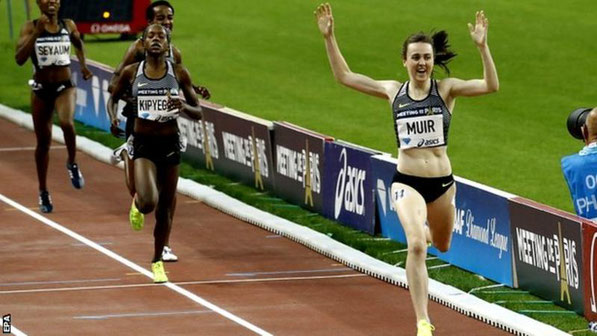 Laura Muir winning the Paris Diamond League meeting with a new 1500 metres record of 3:55.22.