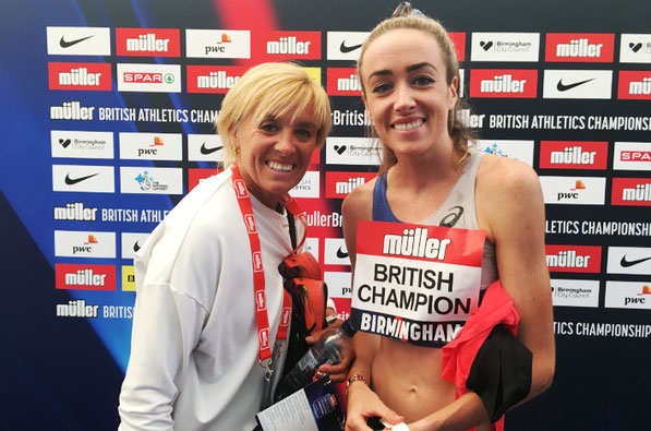 Liz McColgan and daughter Eilish pictured at the 2019 British Championships
