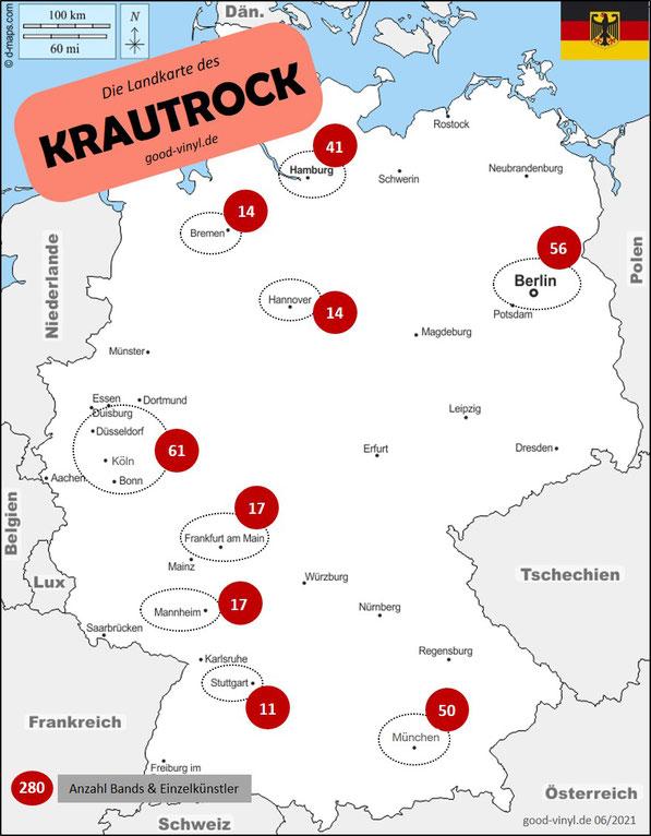 Die Landkarte des Krautrock / Karte: d-maps.com / Grafik: good-vinyl.de