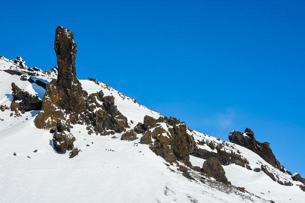 Winter, Mývatnsöræfi, Útbruni, Bræðrafell, Braedrafell, Ice, Snow, Sunset, Cold, Ódáðahraun, Odadahraun, Lava, Iceland, Island, spire