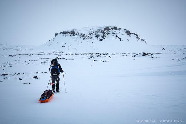 Fjárhólarborg, Fjarholarborg, Útbruni, Utbruni, Winter, Trekking, Ski, Pulka, Pulksled, Iceland, Ódáðahraun, Odadahraun, Island