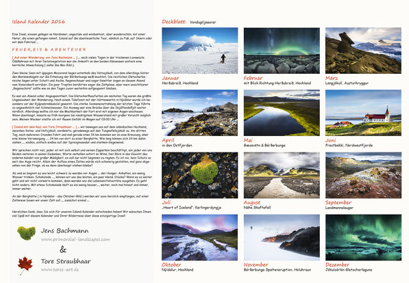 Island, Kalender, 2016, B3, Rückseite, Übersicht, Iceland, Trekking, Rad, Ski, Winter, Sommer, Vulkan, Lava, Nornahraun, Holuhraun