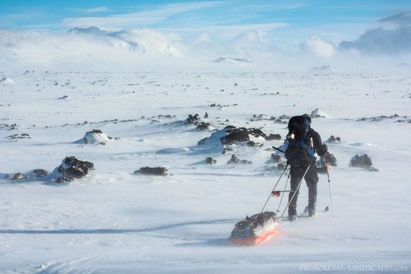 Útbruni, Winter, Mývatnsöræfi, Útbruni, Herðubreið, Askja, Dyngjufjöll, Lokatindur, Lavafield, Hraun, Ice, Snow, Sunset, pulksled, Pulka, Ski, Trekking, Hiking, Cold, Ódáðahraun, Odadahraun, Lava, Iceland, Island, Utbruni
