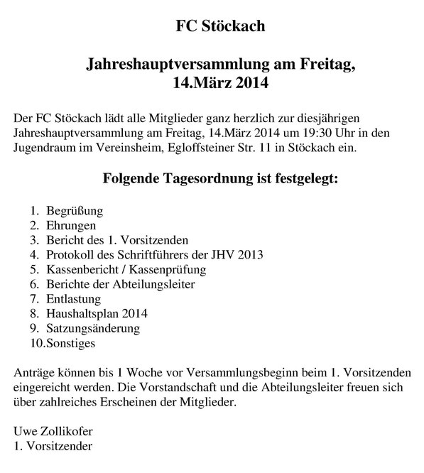 Tagesordnung 2014