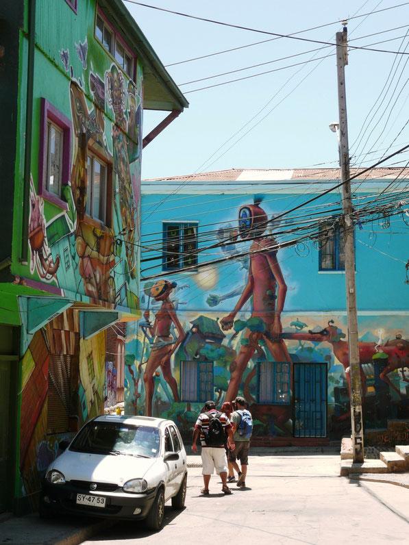 Valparaiso bietet unbestritten eine der besten Streetartszenen der Welt - hier im Stadtteil Polanco (Foto Jörg Schwarz)