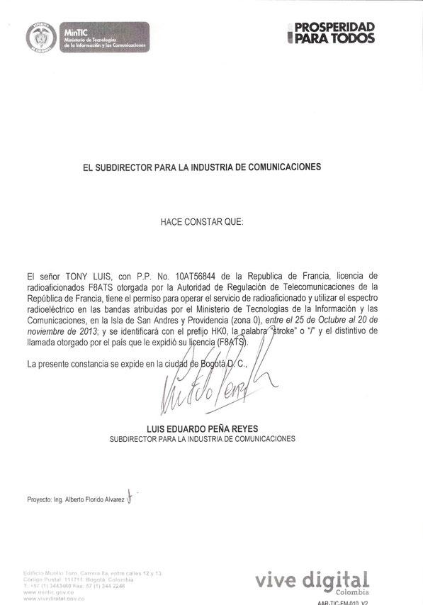 Licença 5J0R Isla de San Andres 2013.....01 to 11  /NOV 2013