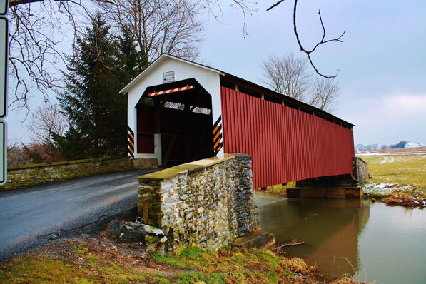 Erb's Mill Covered Bridge (1849) herbouwd in 1887