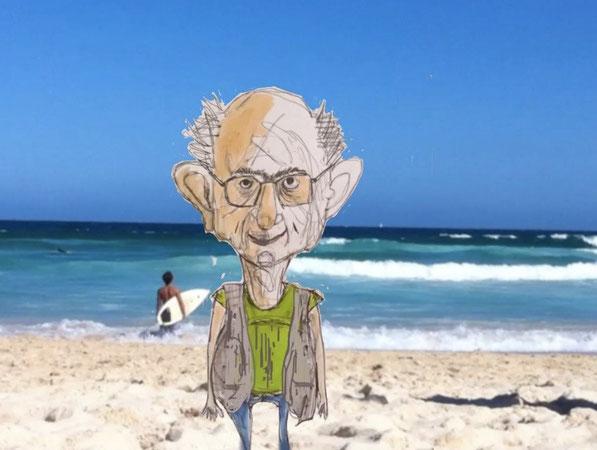 Schaut mal, was mein Kollege Heinz mit meinen Weltenbummlerfotos macht: Lehrfilme mit seiner Figur Otto Kraz vom Bondi-Beach. Mehr auf www.physikmaschine.jimdo.com
