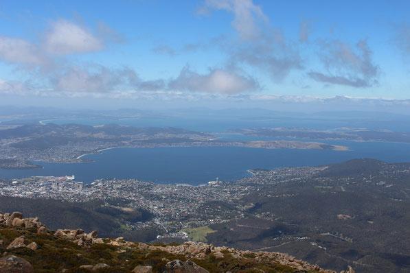 Blick vom Mount Wellington auf Hobart