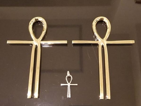 真鍮製アンククロス、純銀製ペンダントトップ