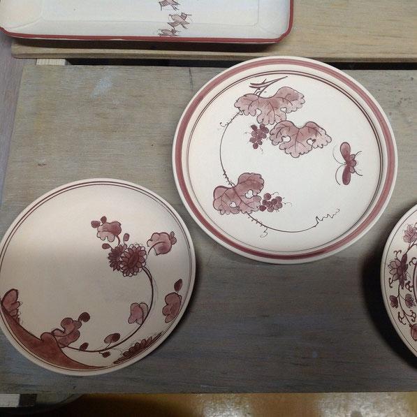 菊花文 葡萄文 5寸皿 7寸皿