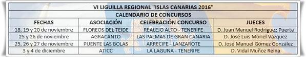 Calendario concursos VI Liguilla Regional Islas Canarias.