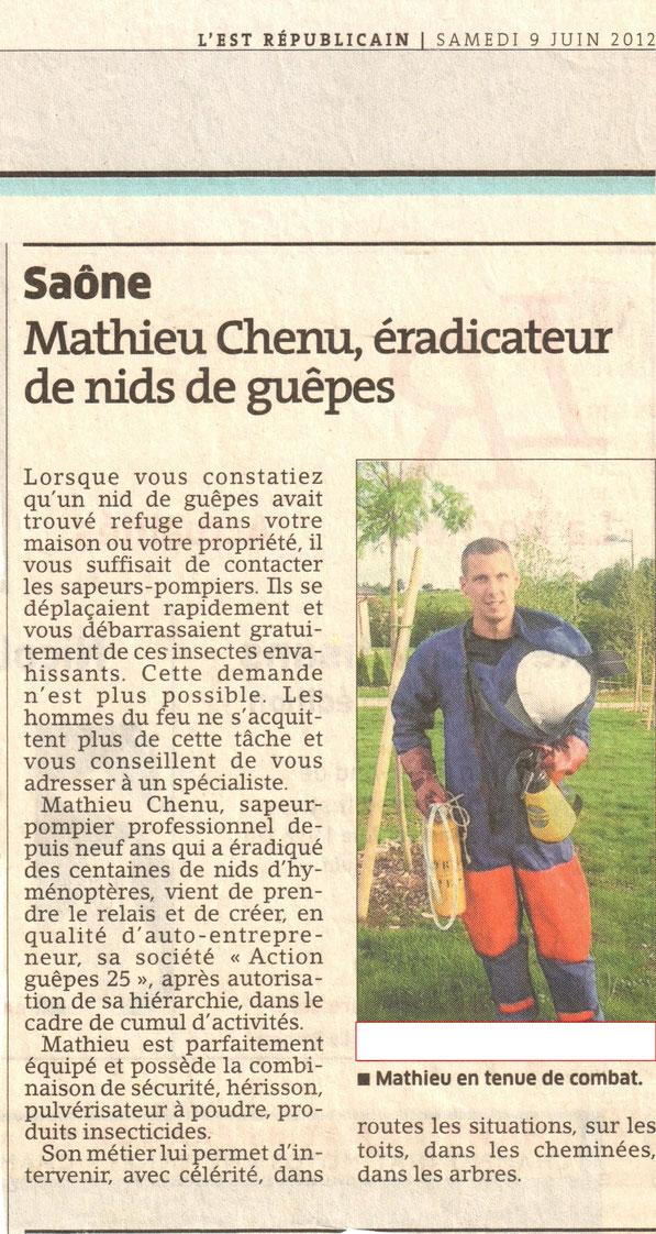 Article Guêpes Est Républicain 09/06/2012