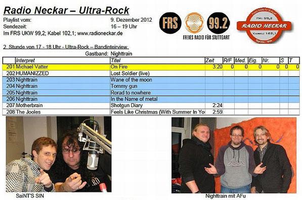 09.12.2012 SAINT'S SIN at Radio Neckar, Stuttgart - Kurzinterview Playlist 2