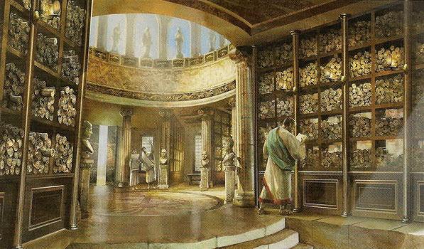 Recreación antigua Biblioteca de Alejandría.
