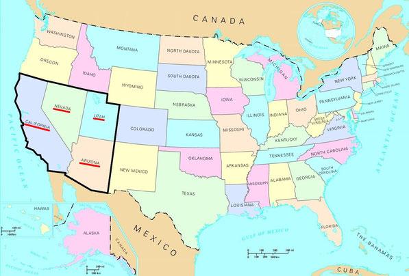 Les états traversés sont soulignés.