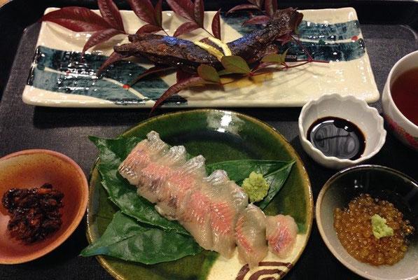 やまだや 岩魚フルコース 平日限定 要予約(岩魚刺身、岩魚甘露煮、岩魚卵、へぼ)