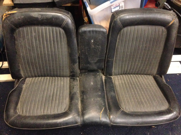 "Off to the Upholstery shop along with the stock rear seat. It will be done in red vinyl with black tweed with 2"" pleats"