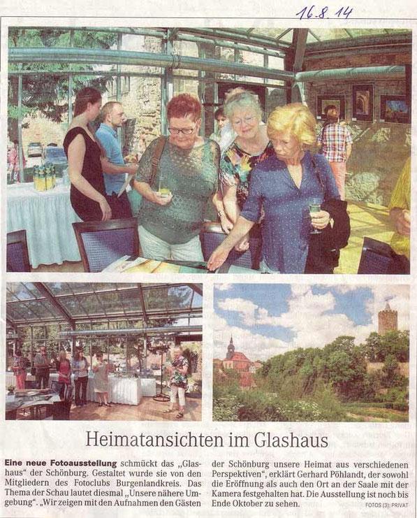 Fotoausstellung auf der Schönburg (vom 10.08. bis 20.10.14) -NMB Tageblatt 08/2014