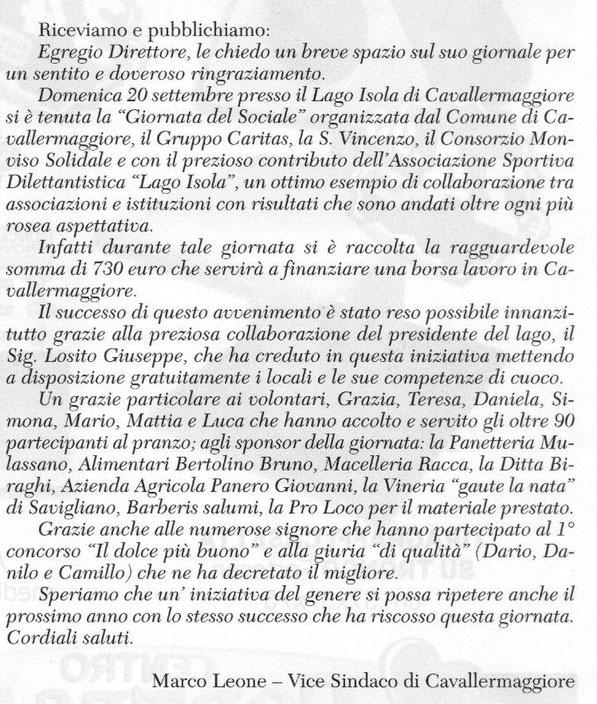 Dal Corriere di Savigliano giovedi 27 settembre 2015