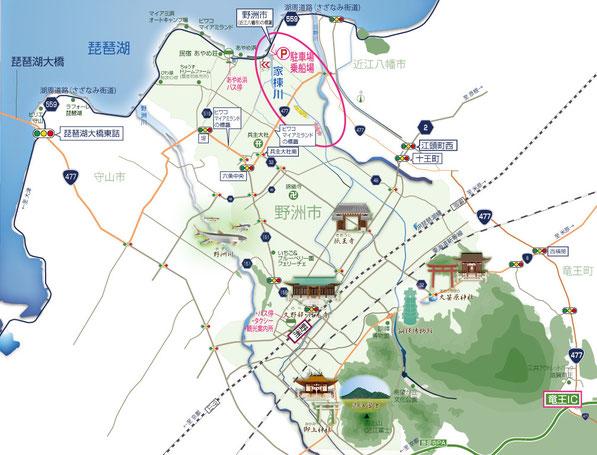 イラストマップ/滋賀県野洲市 家棟川(やなむねがわ)エコ遊覧船