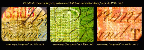 detalle trama texto en cartucho anversos en serie libras Irlanda del Norte 1936-42 Ulster Bank Ltd