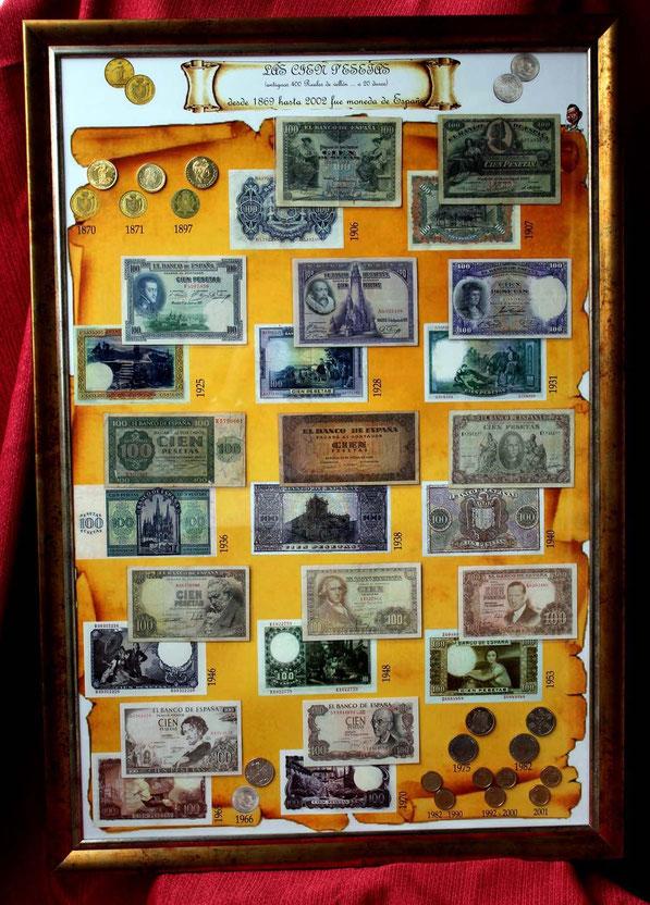 Todas las 100 pesetas de la Historia de España, entre 1869 y 2001