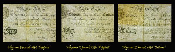 Filigranas en billetes de 5, 10 y 20 libras de Gran Bretaña de los años '30 del s.XX