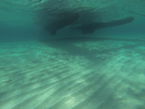 ......ankern wir auf 1,50m Wassertiefe