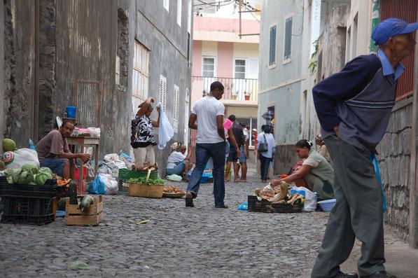 Markt in RIBEIRA GRANDE, Hauptstadt auf Sao Nicolao