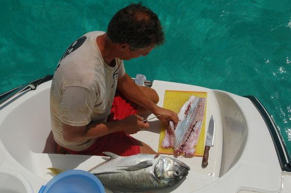 Sauber zerlegen und filettieren dauert, aber lohnt sich. Hier gab es sogar Angelverbot. Zwei Fische sind genug für die kommende Woche....
