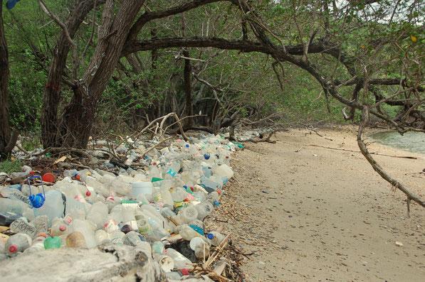 Chakachakare / Trinidad, bis 1940 Leprainsel. Hier räumt niemand auf.
