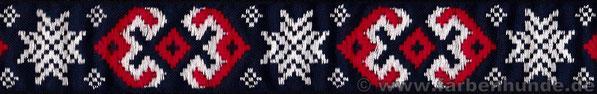 Borte 'Gestickte Schneeflocken' in blau-weiß-rot - 30mm