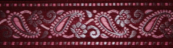 'Paisley' bordeaux-rosa-silber - 41 mm