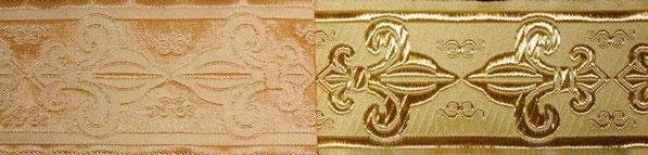 'Französische Lilien' beige-gold (beidseitig verwendbar) - 50 mm
