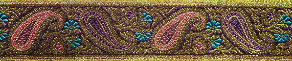 'Paisley' violett-rosa-türkis-gold - 33 mm