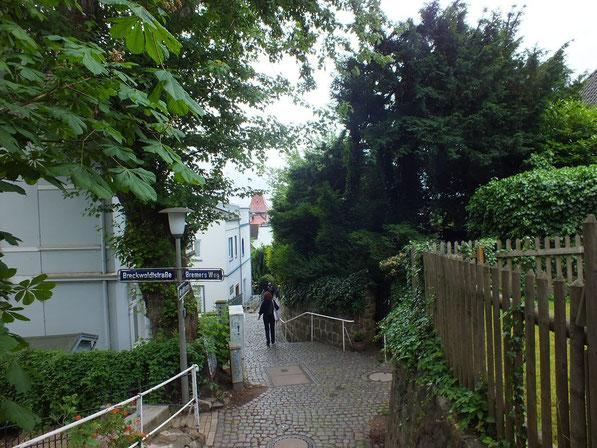 en descendant vers l'Elbe dans le quartier de Blankenese
