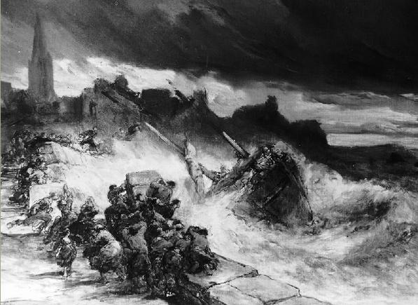 Scène de naufrage sur les côtes bretonne, une population nombreuse arrive sur les lieux du drame