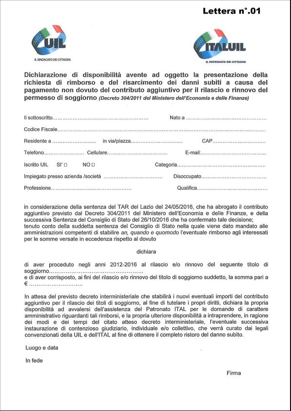 RIMBORSO CONTRIBUTO EXTRA PERMESSO DI SOGGIORNO - uilm cuneo